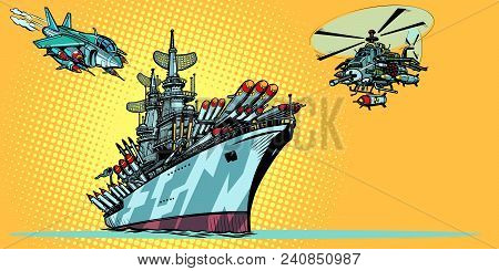 Military Aircraft Carrier With Fighter Jets And Helicopters. Comic Cartoon Pop Art Retro Illustratio