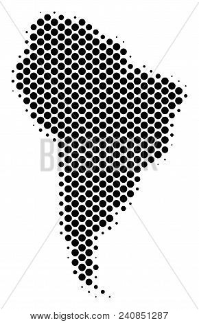 Abstract South America Map. Vector Halftone Geographical Plan. Cartographic Pixelated Composition. S