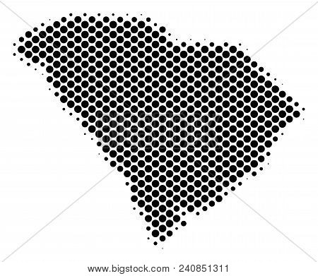 Abstract South Carolina State Map. Vector Halftone Territorial Scheme. Cartographic Dot Composition.