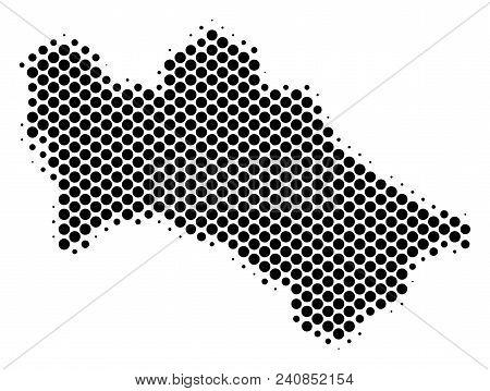 Abstract Turkmenistan Map. Vector Halftone Territorial Scheme. Cartographic Pixelated Concept. Schem