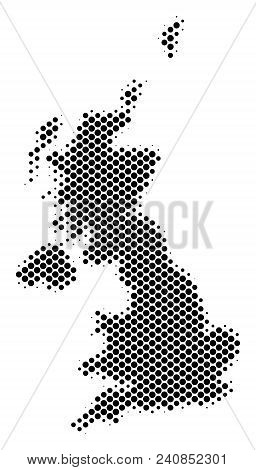 Abstract United Kingdom Map. Vector Halftone Territory Scheme. Cartographic Pixelated Abstraction. S