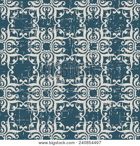 Worn Out Antique Seamless Background Curve Square Spiral Curve Cross Frame Crest, Ideal For Wallpape