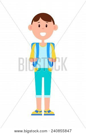 Funny Schoolboy In Denim Capris And Sneakers With Big Square Backpack And Broad Smile Isolated Carto