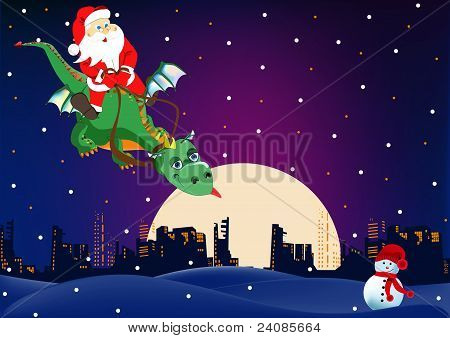 Santa Claus is flying on a dragon
