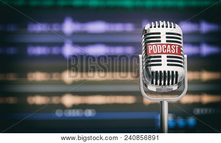 Home Podcast Studio. Microphone With A Podcast Icon