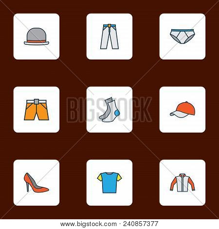 Garment Icons Colored Line Set With Underpants, Shoe, Hat And Other Trousers Elements. Isolated Vect