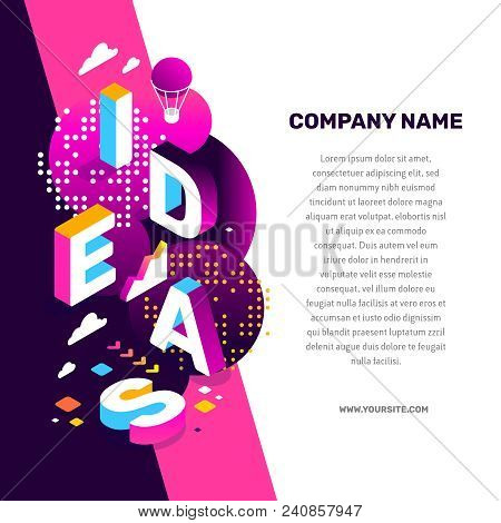 Creative Idea Concept. Vector Creative Abstract Illustration Of 3D Ideas Word Lettering Typography W