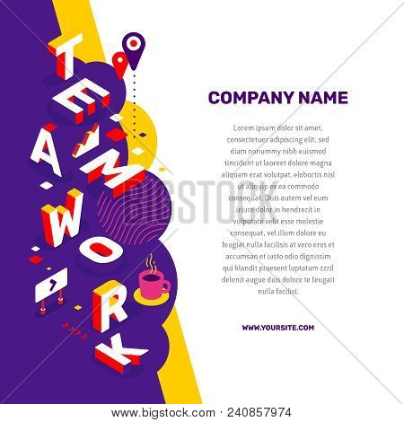 Work People Together Concept. Vector Creative Abstract Illustration Of 3D Teamwork Word Lettering Ty