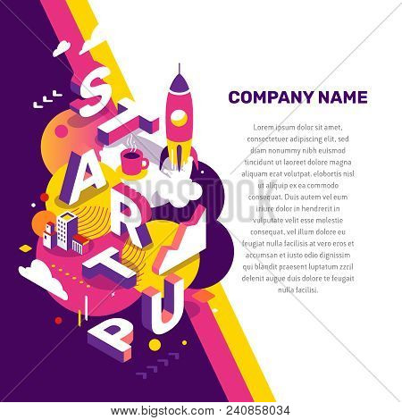 Startup Technology Concept. Vector Creative Abstract Illustration Of 3D Startup Word Lettering Typog