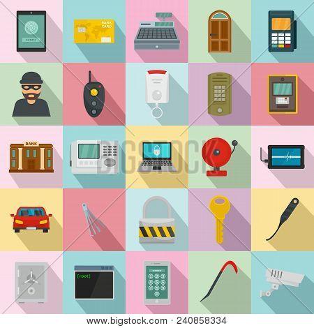 Burglar Robber Mugger Plunderer Icons Set. Flat Illustration Of 25 Burglar Robber Mugger Plunderer V