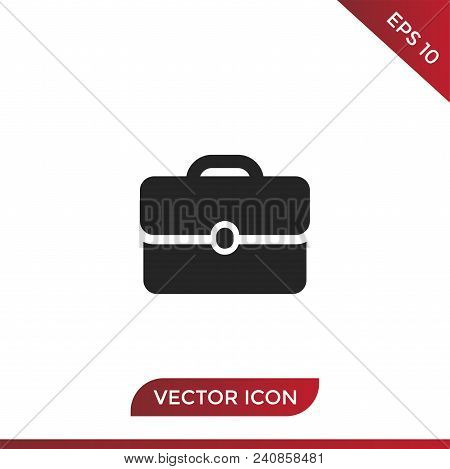 Briefcase Vector Icon Flat Style Illustration For Web, Mobile, Logo, Application And Graphic Design.