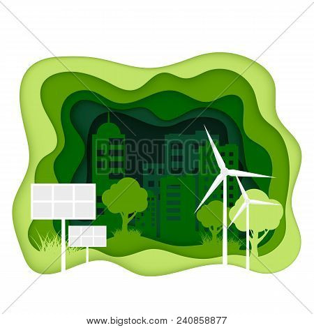 Ecosystem Concept. Eco City With Clean Energy. Creen Paper Cut Ecology Banner.  World Environmant Da