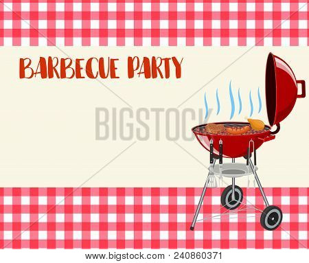 Barbecue Party Blank Invitation. Flyer, Card, Invitation Template. Barbecue Time Grill Over Tableclo