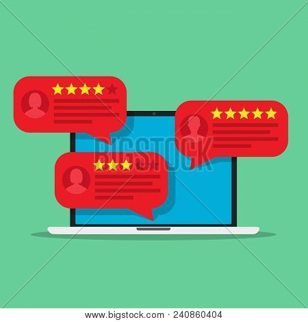 Computer With Customer Review Rating Messages. Desktop Pc Display And Online Reviews Or Client Testi