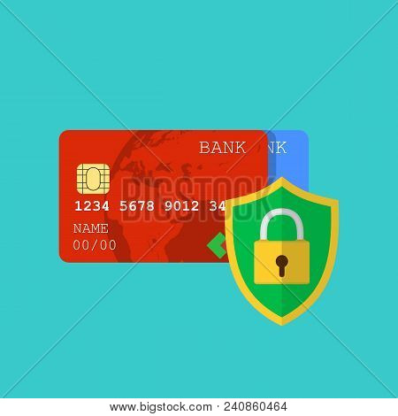 Secure Credit Card Transaction. Secure Payment, Payment Protection Concepts. Credit Card And Shield