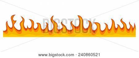 Fire Flame Banner Horizontal. Flat Illustration Of Vector Fire Flame Banner Horizontal For Web Desig