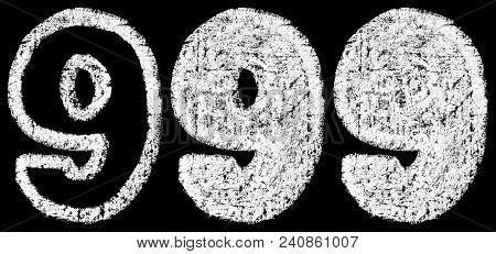 Handwritten White Chalk Arabic Number 9 Isolated On Black Background, Hand-drawn Chalk Numerals, Sto
