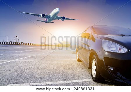 Car On Street At Sunset And Airplane Flying Blue Sky Background,car On Road Design Copy Spec For You