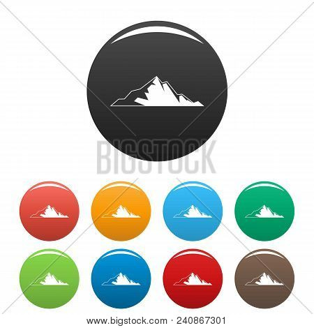 Nice Mountain Icon. Simple Illustration Of Nice Mountain Vector Icons Set Color Isolated On White
