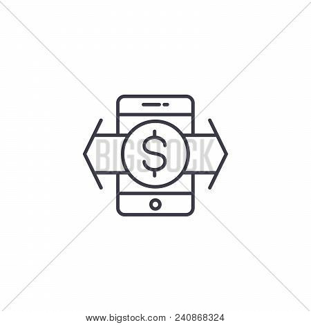 Money Transaction Line Icon, Vector Illustration. Money Transaction Linear Concept Sign.