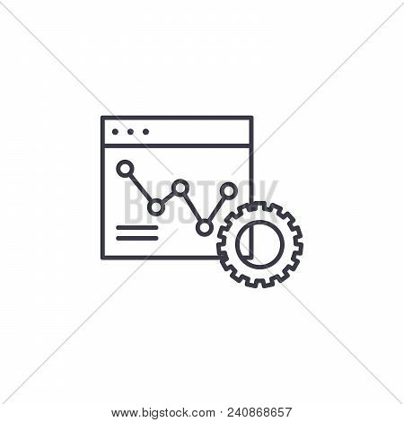 Monitoring Of Dynamics Line Icon, Vector Illustration. Monitoring Of Dynamics Linear Concept Sign.