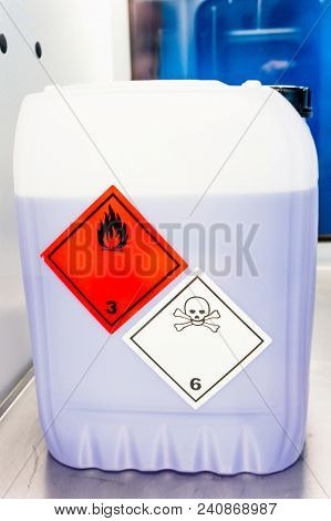 Toxic Laboratory Chemical And Medical Liquid Waste. Plastic Waste And Ecology