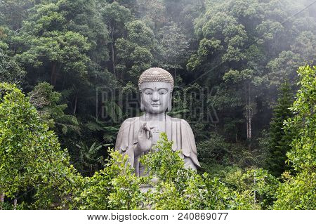 Big Buddah Esculpture Surrounded By Green Trees