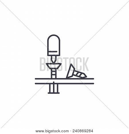 Mounting Work Line Icon, Vector Illustration. Mounting Work Linear Concept Sign.