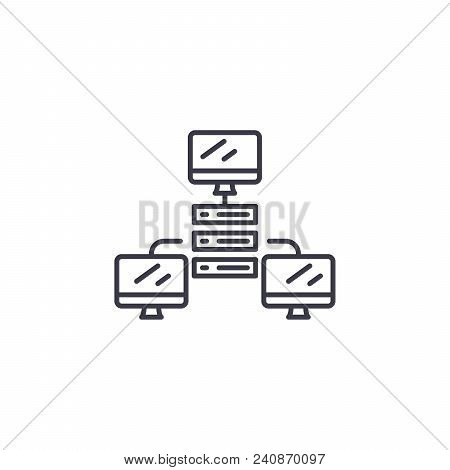 Network System Line Icon, Vector Illustration. Network System Linear Concept Sign.