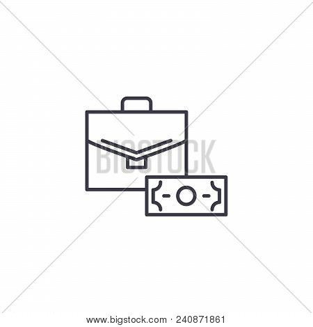 Official Bribery Line Icon, Vector Illustration. Official Bribery Linear Concept Sign.