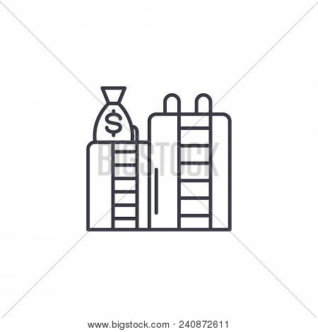 Oil Revenue Line Icon, Vector Illustration. Oil Revenue Linear Concept Sign.
