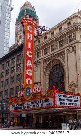 Chicago, Illinois, Usa - March 2016: Chicago, Illinois. Chicago Theater As A Symbol Of The Cityit Is