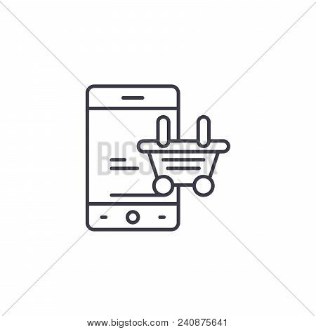 Online Purchase Line Icon, Vector Illustration. Online Purchase Linear Concept Sign.