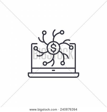 Online Transactions Line Icon, Vector Illustration. Online Transactions Linear Concept Sign.