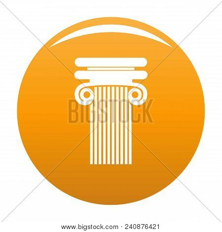 Column With Curl Icon. Simple Illustration Of Column With Curl Vector Icon For Any Design Orange