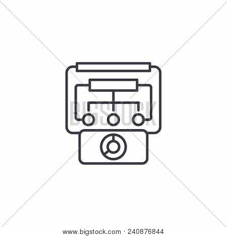 Organization Control Line Icon, Vector Illustration. Organization Control Linear Concept Sign.