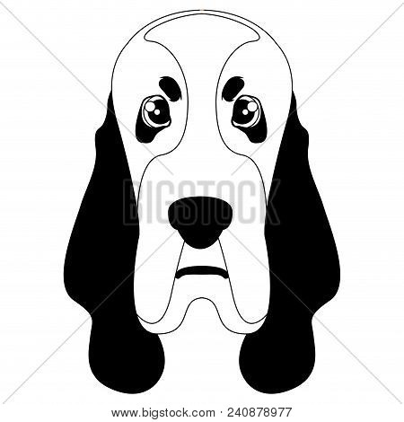 Isolated Silhouette Of A Basset Hound Avatar. Dog Breeds. Vector Illustration Design