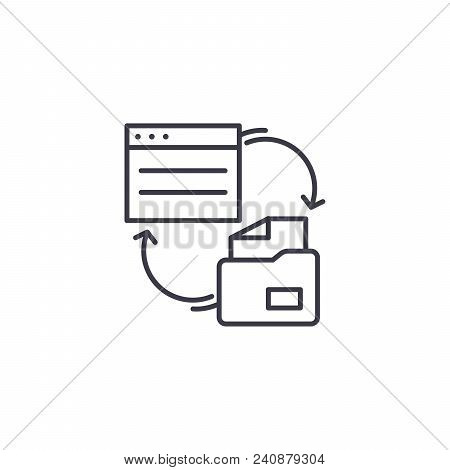 Paperwork Line Icon, Vector Illustration. Paperwork Linear Concept Sign.