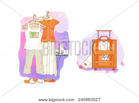 Etiquette. Clothes For Rest And Travel. Smart And Casual Clothes On Hangers. Suitcase With Clothes A