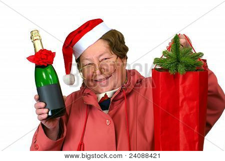 Santa Woman Dressing Up In Red Christmas Costume