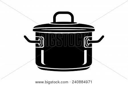 Frying Hot Saucepan Cook Pan Icon. Simple Illustration Of Frying Hot Saucepan Cook Pan Vector Icon F