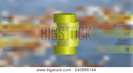 3d Illustration Infographic Template With Motif Of Horizontally Sliced Cylinder To Five Color Parts