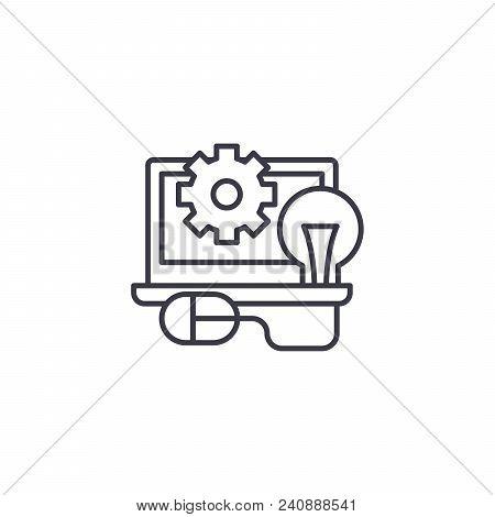 Programming Line Icon, Vector Illustration. Programming Linear Concept Sign.