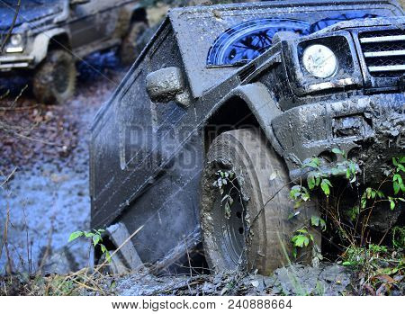 Dirty Wheels Of Car Spinning In Mud. Suv In Autumn Forest, Defocused. Offroad Race On Fall Day. Extr