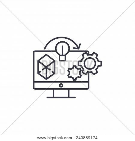 Project Implementation Line Icon, Vector Illustration. Project Implementation Linear Concept Sign.