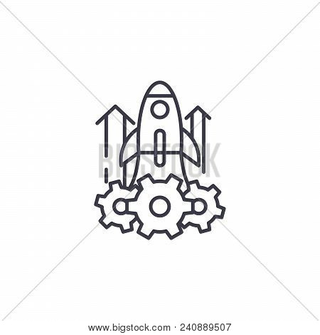 Project Launch Line Icon, Vector Illustration. Project Launch Linear Concept Sign.