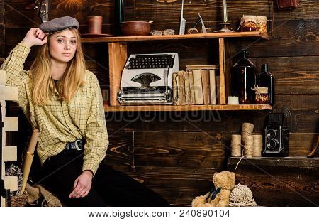 Tomboy Concept. Girl Tomboy Spend Time In House Of Gamekeeper. Girl In Casual Outfit With Kepi In Wo