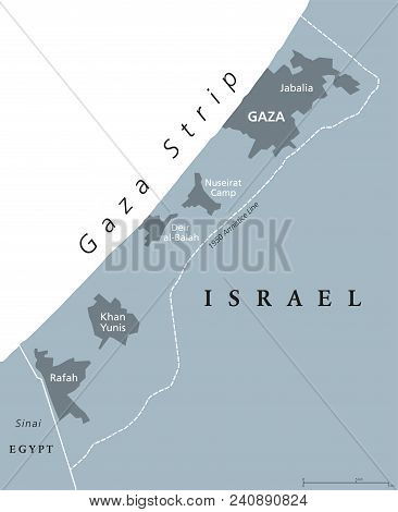 Gaza Strip Political Map. Self Governing Palestinian Territory On Coast Of Mediterranean Sea. Border