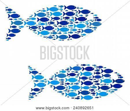 Fish Fish Pair Mosaic In Blue Color Tints. Vector Fish Items Are Arranged Into Fish Pair Mosaic. Nau