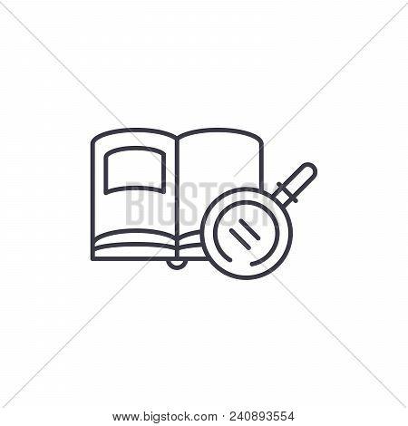 Reading Textbooks Line Icon, Vector Illustration. Reading Textbooks Linear Concept Sign.